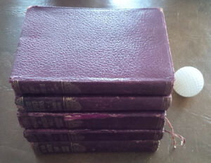 Six Vintage Books in Same Red Leather Binding, Dickens, Dumas+