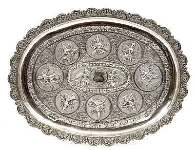 Thai India Indian Hindu Repousse Sterling Silver Tray Plate Buddha Angel Figure