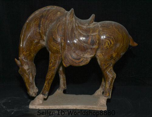 "17.2"" Old Chinese Glaze Pottery Dynasty Palace Zodiac Year Animal Horse Statue"