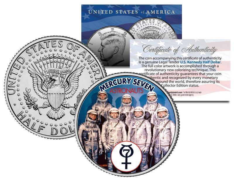 MERCURY 7 ASTRONAUTS JFK Half Dollar U.S. Coin Space NASA Original 7 John Glenn