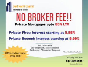 NO BROKER FEE !!! Private Mortgages with 24 hours approval