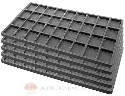 5 Gray Insert Tray Liners W 36 Compartments Drawer Organizer Jewelry Displays