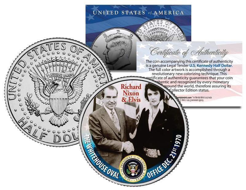 RICHARD NIXON & ELVIS PRESLEY at White House Colorized JFK Half Dollar U.S. Coin