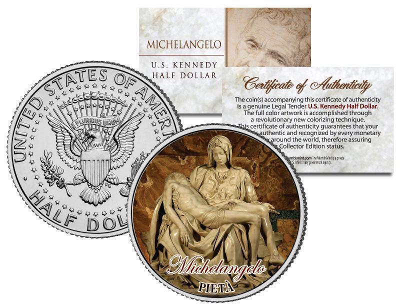 MICHELANGELO * PIETA * Statue Madonna Jesus Colorized JFK Half Dollar U.S. Coin