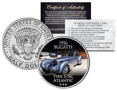 1936 BUGATTI TYPE 57SC ATLANTIC Most Expensive Auction Cars JFK Half Dollar Coin