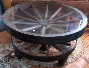 Antique Wagonwheel and Iron Coffee Table One of a Kind