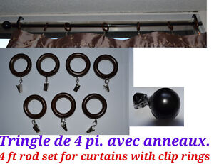 4 ft rod set for curtains with clip rings. Tringle de 4 pi. avec