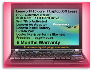 $349 Off Lease Lenovo T410 i7 2.67GHz 8GB Ram 1TB H-Drive Webcam