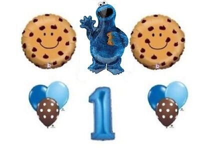 12 PC COOKIE MONSTER 1ST BIRTHDAY Party BaLlOoNs sesame street FREE SHIPPING