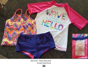 Size 6-6X Three Piece Bathing Suit