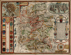 Antique Map Of Wiltshire 1610 by John Speed