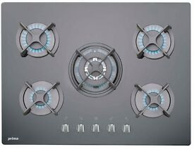 NEW - Prima PRGH208 70cm Black Glass Built in 5 Burner Gas Hob (Black) - BARGAIN PRICE £150