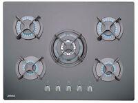 NEW - Prima PRGH208 70cm Black Glass Built in 5 Burner Gas Hob (Black) - BARGAIN PRICE £150