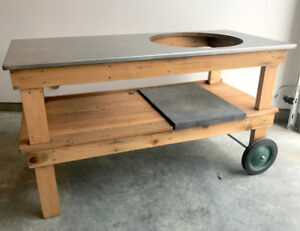 Custom-Built BBQ Table with Stainless Steel Top