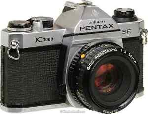 Pentax K1000 avec pentax-a 50mm, flash, sac de transport.