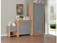 Grey, White, Black high gloss/light oak effect 3 piece bedroom furniture set.