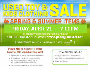April 21, 7 PM Spring Children's Used Clothing and Toy Sale