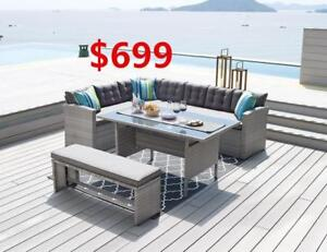 Sectional sofa with table and bench for $699-- Largest selection of outdoor / patio furniture from ifurniture