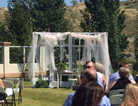 Wedding back drop and outdoor entry arbor and doors
