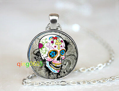 Orleans Mardi Gras sugar skull Tibet silver Chain Pendant Necklace wholesale](Mardi Gras Necklaces Wholesale)