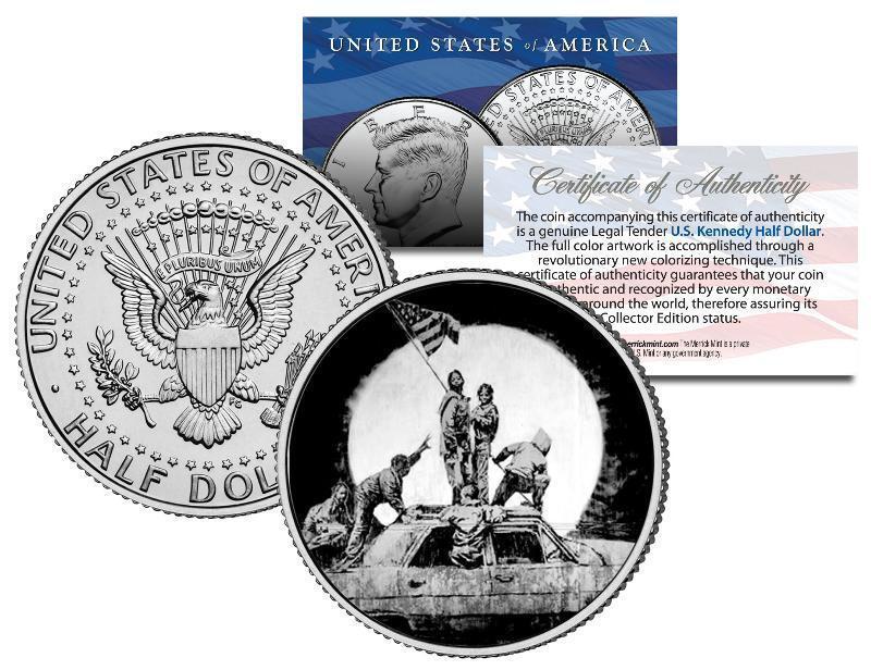 BANKSY * RAISING THE FLAG ON IWO JIMA * Colorized JFK Half Dollar Coin Urban Art