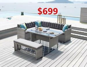 Sectional sofa with table and bench-- Largest selection of outdoor / patio furniture from ifurniture