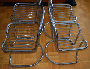 MCM Cantilever Chrome chairs – Set of 4 (Made in Italy)