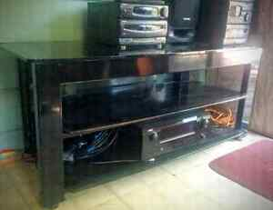 TV  3 Tier  Tinted Glass Stand Black