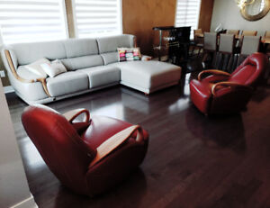 Living Room Set Real leather/Wood. Salon Sofas Cuir/Bois. New!