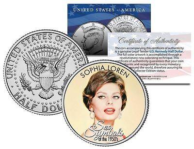 SOPHIA LOREN  1950S SEX SYMBOL  COLORIZED JFK KENNEDY HALF DOLLAR U.S. COIN