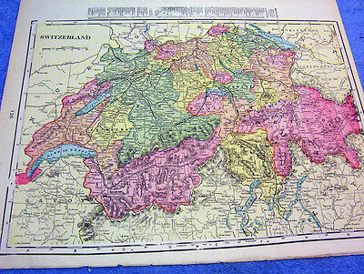 ANTIQUE MAP OF SWITZERLAND    FROM  1899  BEAUTIFULLY COLORED    LOOK!