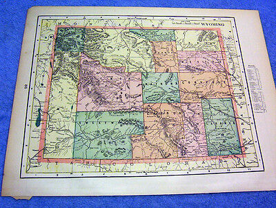 ANTIQUE MAP OF WYOMING W/ RAILROADS,  INDIAN RESERVES, MILITARY RESERVES