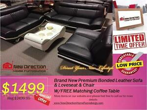 Inventory Blow Out Sale-Brand New 4PCS Bonded Leather Sofa Set W/1 Big Coffee Table@NEW DIRECTION HOME FURNISHINGS