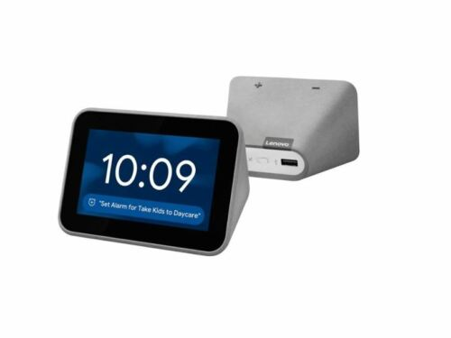 Lenovo ZA4R0002US Smart Clock with the Google Assistant Gray Digtal Assistant