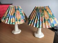 Bright Flowery Patterend Pair of Table Lamp