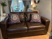2 seater sofa brown leather furniture village
