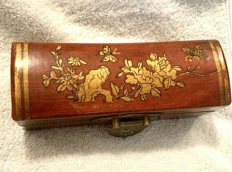 Vintage Chinese Wooden Pillow Box with Butterflies 🦋 Flowers 💐 Brass Latch