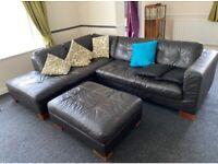 Leather Corner Sofa & Two Storage Footstools