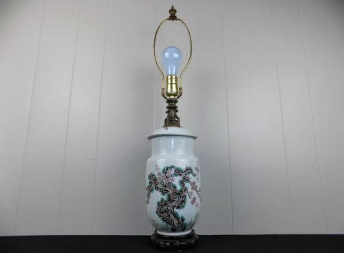 Antique Japanese ginger jar lamp signed w Cherry tree blossoms white porcelain