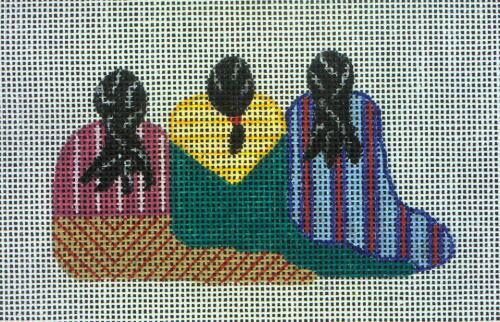 New Hand Painted Needlepoint canvas- 3 Native Ladies