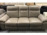 High retail real leather reclining coffee colour sofa