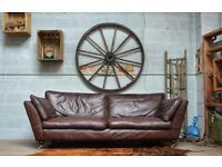 Mark & Spencer Chesterfield Vintage Leather 3 Seater Sofa Couch Brown