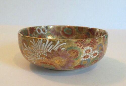 "ANTIQUE JAPANESE SATSUMA POTTERY ""1000 FLOWERS"" GILT & ENAMELED BOWL, SIGNED"