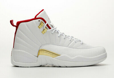 NEW DS 2019 Nike AIR JORDAN RETRO 12 FIBA White University Red Gold 130690-107