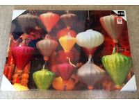 LARGE CANVAS ON WOOD PRINT CHINESE LANTERNS, NEW UNOPENED IN SELLOPHANE , 50cm X 70cm