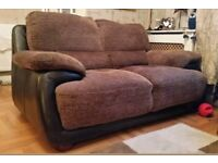 Leather and chenille 2 seater sofa
