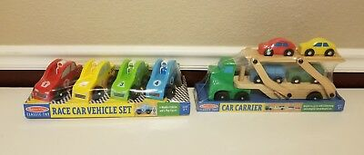 - Lot 2 Melissa and Doug: Race Car Wooden Vehicle Set & Car Carrier BRAND NEW!