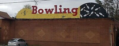 Vtg 1950s Roof top tin animated neon bowling sign advertising Americana MCM