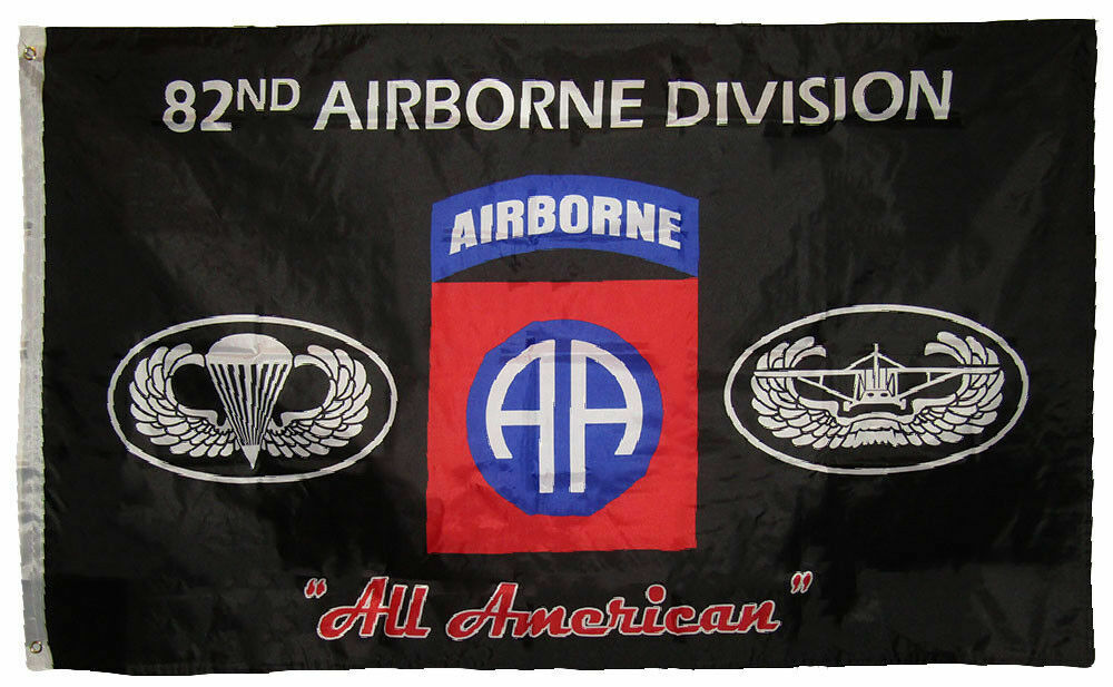 "3x5 Black 82nd Airborne Division ""All American"" Polyester 3'"