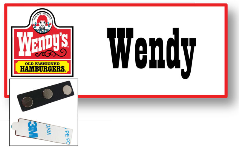 1 NAME BADGE FUNNY HALLOWEEN COSTUME WENDY OF WENDYS BURGERS MAGNETIC FASTENER